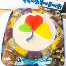 행사후 나눠먹기 편한 콤보떡케이크 [ 한국사회복지회 2단콤보 로고케이크 ] (전화주문)
