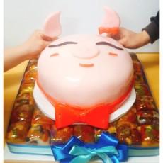 고사상N 깔끔한 돼지머리 맞춤 2단케이크 [고사상을 이젠 간단하고 깔끔하게! 회사오픈식, 입주식 상차림의 필수잇템 돼지머리 케이크]